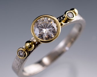 Forever One Moissanite 18k Gold Bezel Engagement Ring, Conflict Free Recycled Diamonds & Yellow Gold Accents, Hammer Textured Band Palladium