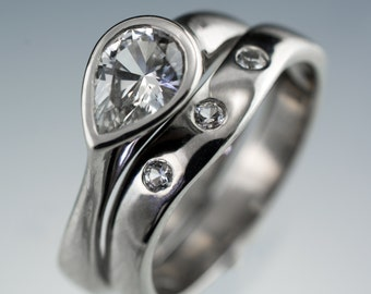 Bridal Ring Set Genuine White Sapphire Tear Drop Engagement Ring in Palladium, Platinum, White Gold, Yellow Gold, Rose Gold, Contoured Band