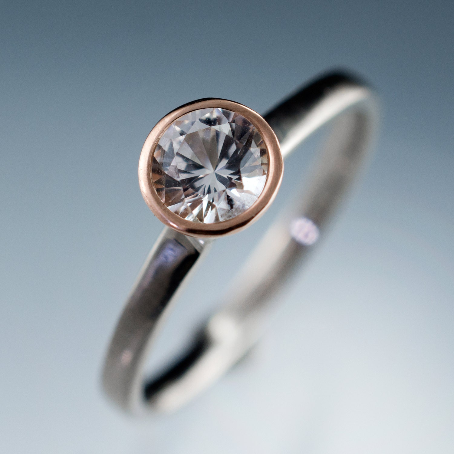 White Sapphire Rose Gold Bezel Solitaire Engagement Ring with
