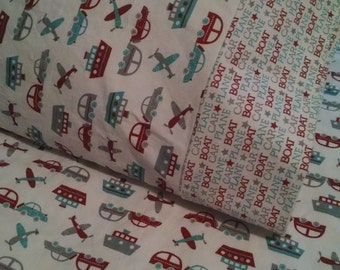 Car Plane Boat Toddler Bed fitted sheet with standard pillowcase