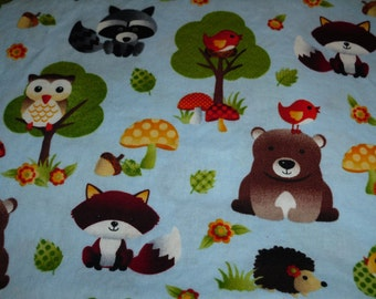 Baby Toddler Fitted Sheet forest animals woodland animals on light blue