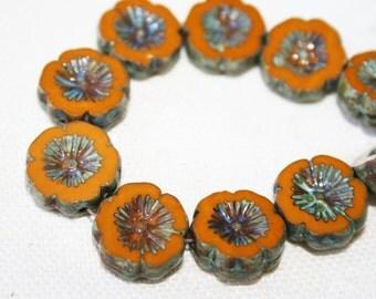 14mm . Czech glass pumpkin pie orange curry carved flowers . 10 beads