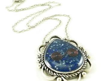 Orgone Energy Ornate Teardrop Reversible Pendant Necklace - Orgone Energy Jewelry - Lapis Lazuli Gemstone Necklace - Artisan Jewelry