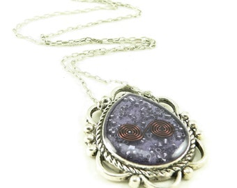 Orgone Energy Ornate Teardrop Reversible Pendant Necklace - Orgone Energy Jewelry - Purple Amethyst Gemstone Necklace - Artisan Jewelry