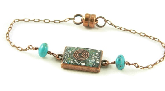 Orgone Energy Petite Stacking Bracelet in Antique Copper Rectangle with Turquoise Gemstone - Delicate Bracelet - Orgone Energy Jewelry