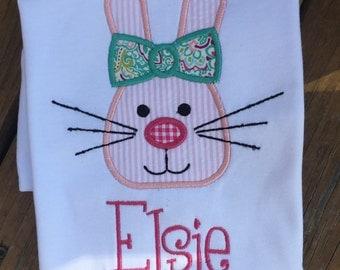 Girls short sleeve Easter bunny shirt FREE PERSONALIZATION