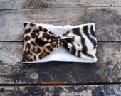 Turban Headband Women's Leopard Print Jersey Knit Fleece Lined Ear Warmers Headwrap Winter Fashion For Women and Girls Holiday Sale