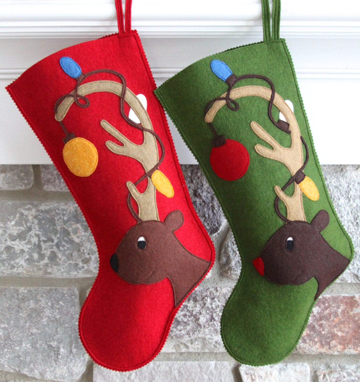 handmade wool felt personalized christmas stocking by. Black Bedroom Furniture Sets. Home Design Ideas