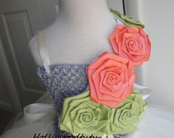 mint coral flower girl tutu dress