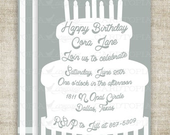 Cake Birthday Party Invitations Neutral Printable Invitations Cheap Invitations Candle Stripes Online Party Invitations Hipster - 211644817