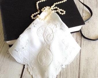 Monogrammed Handkerchief P,  Vintage Hankie Monogrammed, Embroidered Hankie Letter P, Bridal Hanky, Mother's Day Hanky, Bridesmaid Gift
