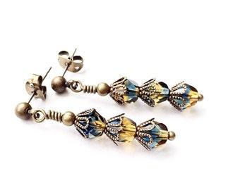 SALE - Glass Earrings - Yellow Topaz Jewelry - Montana Blue Jewelry - Dangle Earrings - Fancy Drop Earrings - Brass Stud Earrings