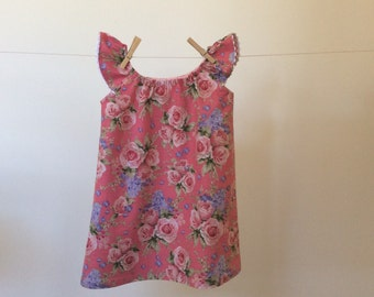 Pink peasant dress, size 3 - 4 girls, pink roses and lilacs, flutter sleeve with white ric rac trim, cool cotton dress, cottage chic style