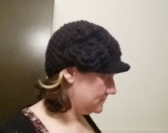 Black woman's news boy crochet hat