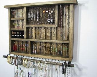 Dark Walnut Jewelry Holder Organizer