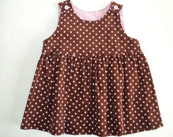 Corduroy Baby Dress - Toddler Girls Dress - Size 12 Mo. Ready To Ship - Corduroy Jumper - Baby Girl Outfit - Pinafore Dress - Comfy Dress