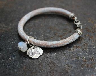 Ogham custom bracelet - leather and sterling silver bracelet - Made to order, choose your symbol and color