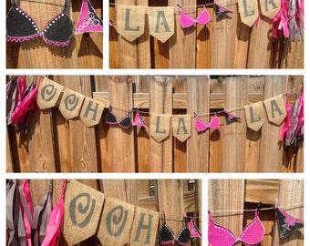 Ooh La La Banner- Lingerie Banner, Burlap Banner, Lingerie Shower Decor, Wedding, Ooh La La