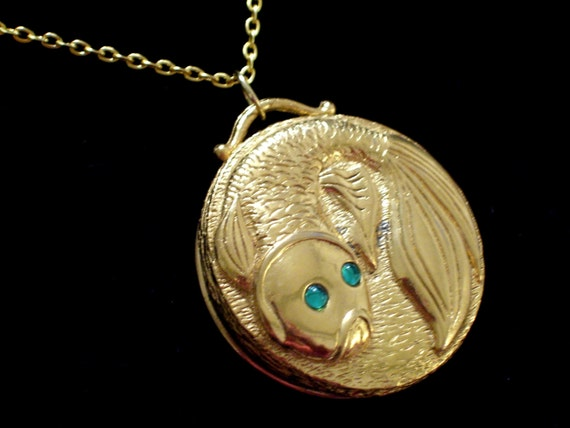 Gold fish perfume pendant vintage koi fish perfume locket for Gold fish pendant