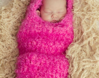 Pink Newborn Hooded Cocoon Photo Prop