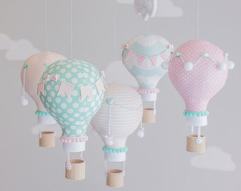 Pink, Aqua Baby Mobile, Hot Air Balloon, Nursery Decor, Custom Baby Mobile, personalized, Baby Shower Gift, Made to Order, i27