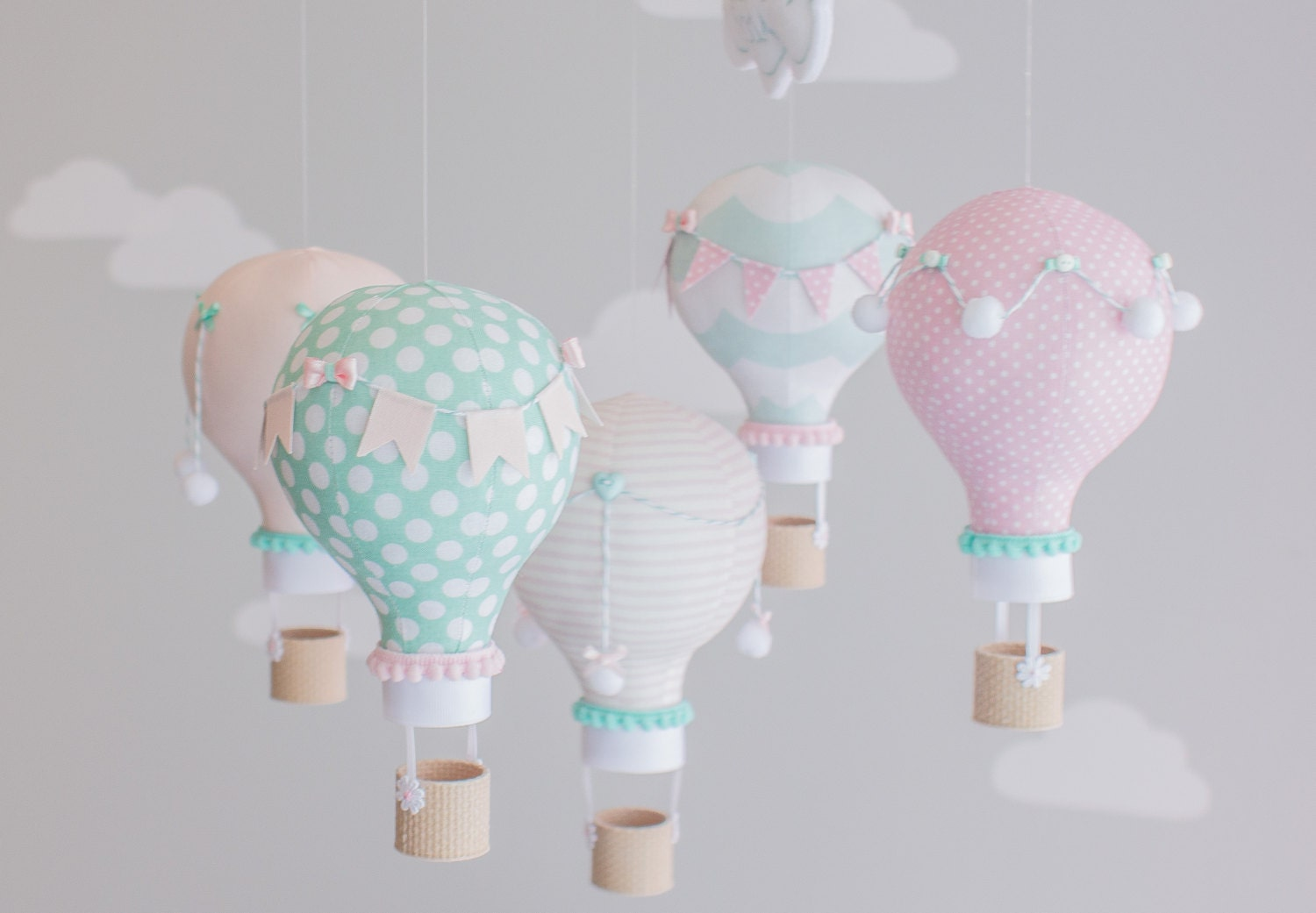 Pink aqua baby mobile hot air balloon nursery decor custom for Balloon decoration for baby shower