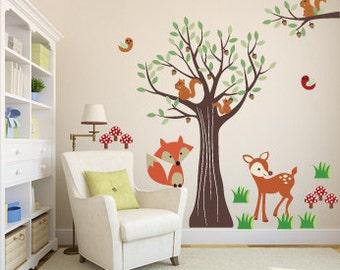wall decals - Tree decal - Vinyl tree - deer decal - Nursery tree - fox decal - tree branch decal