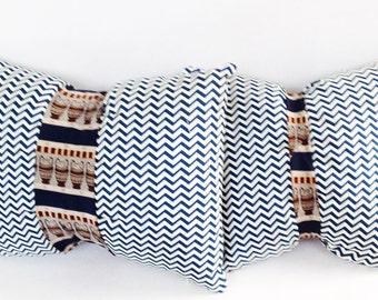 Chevron pillows? Tie pillows? How about both? Unique throw pillows, bohemian decorative pillows in gray, embellished with a silk tie