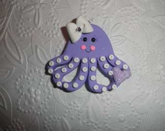 Polymer Clay Super Chunky Purple Octopus Pendant/Gift