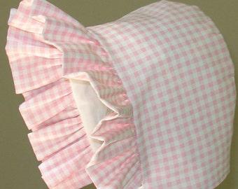 Baby Bonnet-  Pink Gingham- Sun Hat