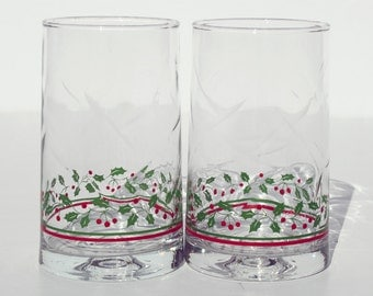 Holly Arby's Christmas Collection Libbey Tumbler Ice Tea Glass Replacements 1982