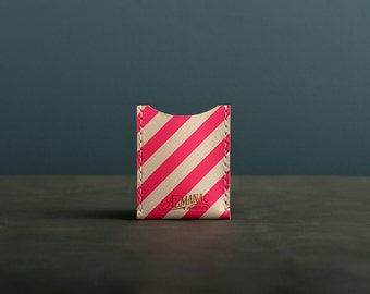 Leather Card Case / Wallet - Neon Pink Stripe