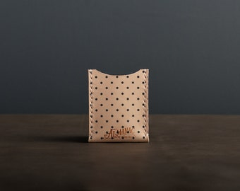 Leather Card Case / Wallet - Navy Dot