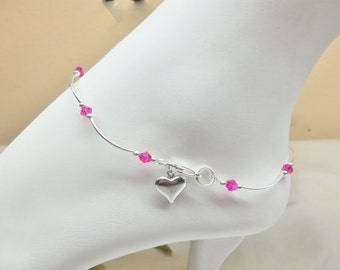 Hot Pink Anklet Crystal Anklet Heart Anklet Bracelet Silver Fuschia Anklet 925 Sterling Silver Anklet Body Jewelry BuyAny3+Get1Free