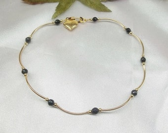 Gold Ankle Bracelet Black Onyx Anklet Black Onyx Ankle Bracelet Gold Heart Anklet 14k Gold Filled Anklet Beach Jewelry Beach Buy3+1Free