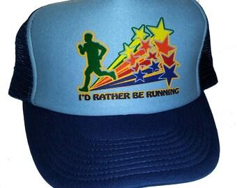 I'd Rather Be Running Mesh Trucker Hat Cap Snapback Jog Jogging