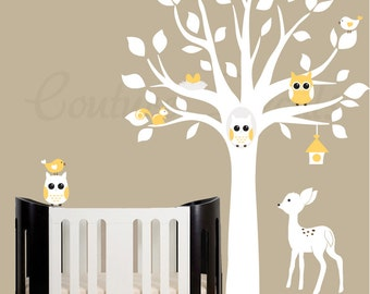 Decal white tree with yellow accent decals birds, owls, fawn