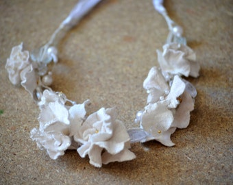 Flower crown, Felt Necklace , white, Felted Necklace ,Long Necklace of felt flowers, bridal headpiece, Ready to Ship