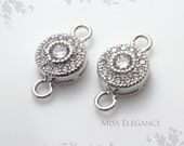 2pcs White Cubic Zirconia Excellent Quality Rhodium Plated Jewelry Findings // 7mm x 7mm (12mm including Loop) // 1186-BR