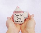 Hand Embroidered Hot Chocolate Mug Baby It's Cold Outside Christmas Ornament