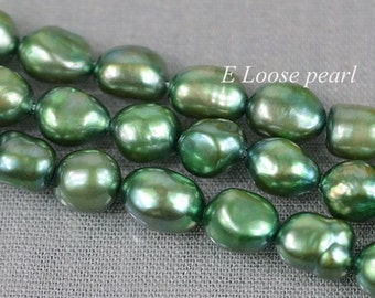 Large hole pearl 7.5-8.5mm Baroque pearl Freshwater Pearl green Pebble Potato Necklace bead Loose bead 35pcs Full Strand Item No : PL3077