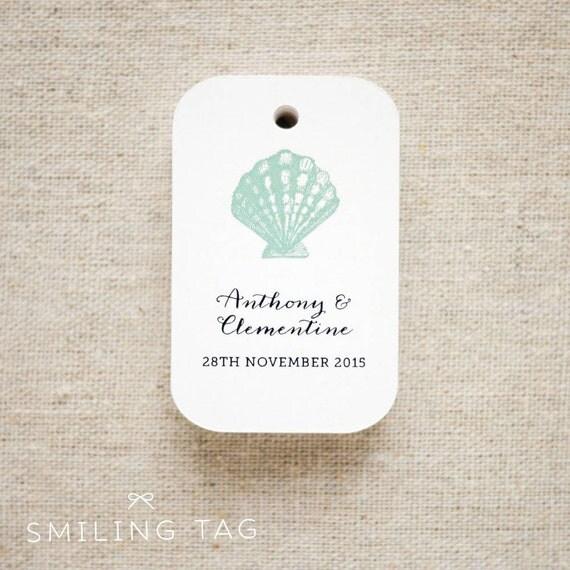 Wedding Favor Tags Beach : ... Beach Gift Tags - Seashells Thank you tags - Beach Wedding Favor Tags