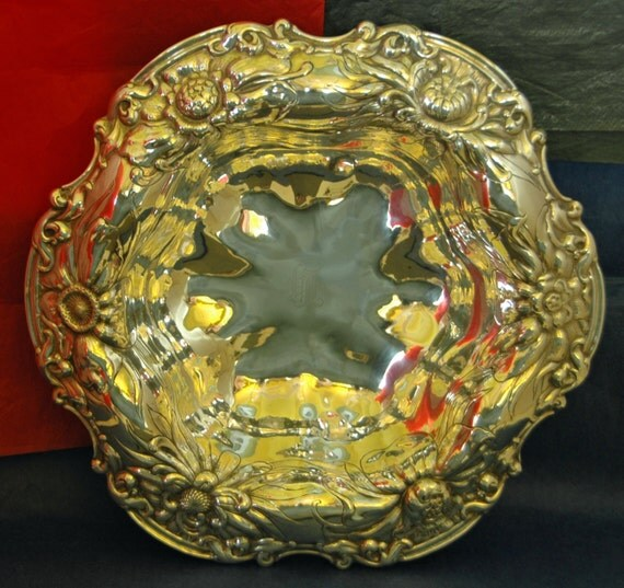 Antique VICTORIAN CHRYSANTHEMUM GORHAM Art Nouveau Sterling Repousse Bowl A 816 M Flowers Daffodils Chrysanthemums Peonies - V G Vintage !