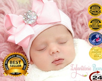 AWARD WINNER! Our Popular Newborn Hospital Hat with Bow,  Newborn Hospital Beanie, Perfect Gift