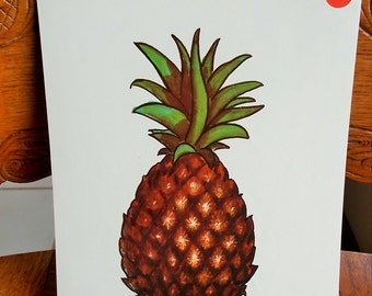 Large Pineapple Picture Card Vintage 1965 Peabody Language Card Paper Ephemera DIY Project Supply US Shipping Included