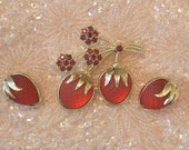 Sarah Coventry Strawberry Festival Brooch Pin and Earrings