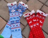 Holiday Boot Socks White Cotton Lace and Buttons Fair Isle Red or Blue with Hearts