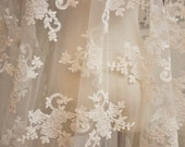 SALE alencon lace fabric in off white  for bridal gowns, wedding dress, costumes,bridal veils,headpieces