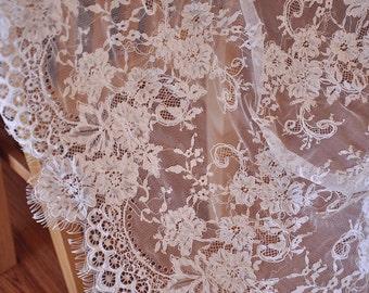 3 Yards Chantilly Lace Fabric Alencon Lace Fabric Bridal Wedding Lace Fabric Eyelash French Lace Fabric