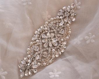 pearl and rhinestone applique, crystal bridal beaded applique